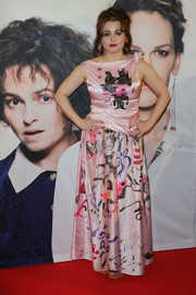 Helena Bonham Carter donned a whimsical pink print gown for the premiere of 'Eleanor & Colette in Essen, Germany.