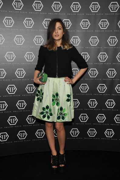 Eleonora Carisi Knee Length Skirt [clothing,green,fashion,dress,fashion model,footwear,pattern,flooring,design,sleeve,philipp plein,eleonora carisi,milan,italy,menswear autumn,milan fashion week,show]