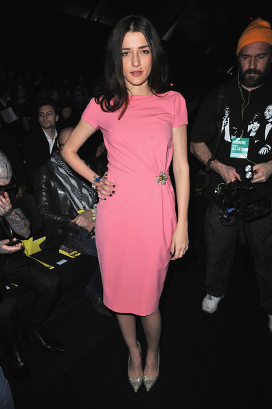 Eleonora Carisi Evening Pumps [clothing,dress,pink,fashion,fashion model,cocktail dress,shoulder,leg,joint,thigh,eleonora carisi,dsquared2,front row,dsquared2 autumn,part,milan,italy,milan fashion week womenswear autumn,fashion show,milan womenswear fashion week]