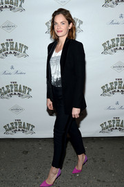 Ruth Wilson teamed a sleek black pantsuit with a T-shirt for the 'Elephant Man' opening night.