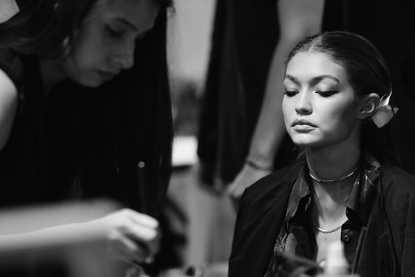 More Pics of Gigi Hadid Layered Gold Necklace (2 of 4) - Layered Necklaces Lookbook - StyleBistro [image,photograph,black,white,face,black-and-white,monochrome,monochrome photography,beauty,fashion,photography,gigi hadid,part,paris,france,elie saab,paris fashion week womenswear spring,backstage - paris fashion week womenswear spring]