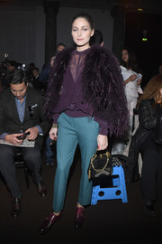 Olivia Palermo pulled her outfit together with a pair of ombre purple slip-ons by Santoni.