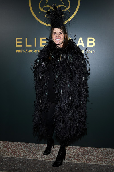 Anna dello Russo gave us Black Swan vibes with this feather cape at the Elie Saab Fall 2018 show.