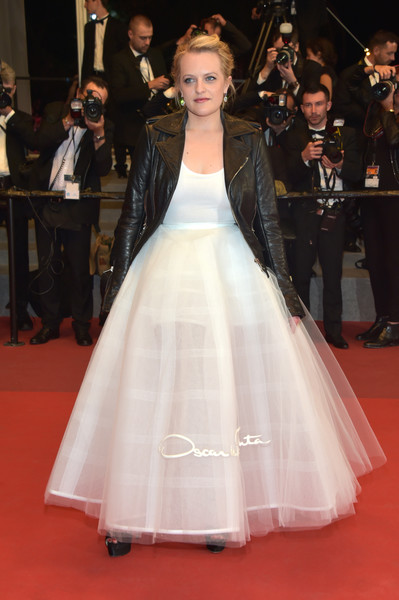 Elisabeth Moss Princess Gown [the square,dress,gown,clothing,red carpet,carpet,fashion model,flooring,fashion,lady,wedding dress,red carpet arrivals,elizabeth moss,screening,cannes,france,cannes film festival,palais des festivals]