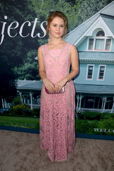 Eliza Scanlen Satin Clutch [sharp objects,clothing,pink,dress,shoulder,lady,fashion,formal wear,gown,fashion design,peach,red carpet,eliza scanlen,california,los angeles,the cinerama dome,hbo,premiere,premiere]