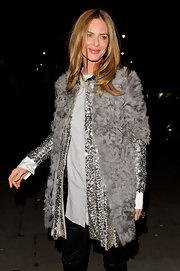 Trinny Woodall made sure to stand out with this fur and sequins combo at the launch of Elizabeth Arden's new Eight Hour Cream.