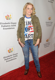Melissa Joan Hart was casual on the red carpet in faded skinny jeans and a graphic tee during the Time for Heroes Family Festival.