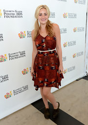 Amanda Michalka chose a Southwester-inspired print dress for her look at 'A Time for Heroes.'