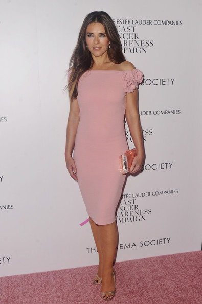 Elizabeth Hurley Off-the-Shoulder Dress [the cinema society host a special screening of ``hear our stories,hear our stories,clothing,dress,shoulder,cocktail dress,pink,fashion model,hairstyle,joint,long hair,fashion,arrivals,elisabeth hurley,estee lauder companies breast cancer awareness,screening,tribeca grand hotel,bca,cinema society,campaign]