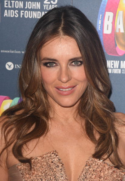 Elizabeth Hurley Long Wavy Cut [the band charity gala performance,hair,hairstyle,human hair color,eyebrow,beauty,chin,nose,blond,long hair,forehead,red carpet arrivals,elizabeth hurley,charity gala performance,aid,theatre royal haymarket,england,london,elton john aids foundation]