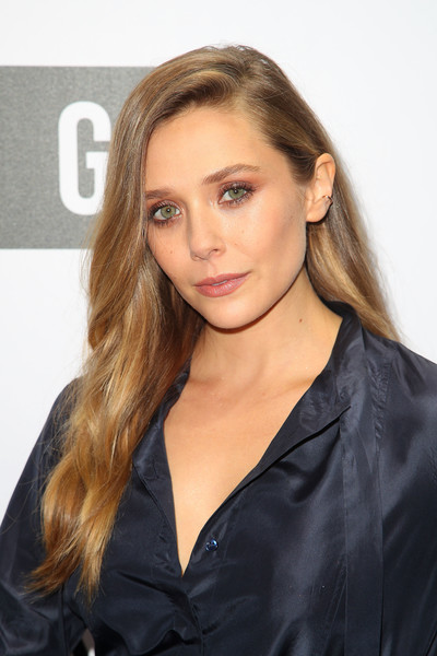 Elizabeth Olsen Long Side Part [hair,face,hairstyle,blond,eyebrow,long hair,beauty,brown hair,lip,chin,arrivals,elizabeth olsen,melbourne,australia,ngv,ngv gala]