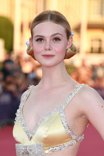 Elle Fanning Chignon [hair,face,hairstyle,beauty,eyebrow,lady,fashion,chin,lip,chignon,elle fanning,galveston,deauville,france,deauville american film festival,premiere]