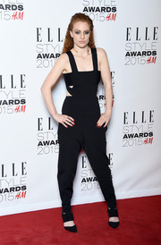 Jess Glynne arrived at the 2015 Elle Style Awards in a stunning black jumpsuit with cutout details.