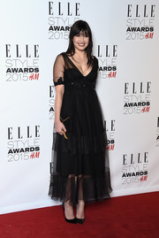 Daisy Lowe looked like a goth princess in her tiered, sheer-overlay LBD at the Elle Style Awards.