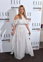 Laura Whitmore was a boho princess at the Elle Style Awards in a white cold-shoulder ruffle gown by Sandra Mansour.