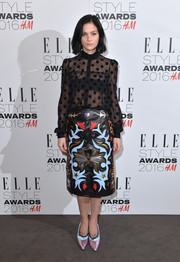 Leigh Lezark completed her ensemble with a pair of Mary Katrantzou berriboned pumps, in metallic pastels.