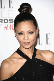 Thandie Newton attended the 2017 Elle Style Awards wearing her hair in a tight top knot.
