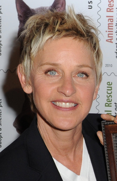 Ellen DeGeneres Messy Cut [the animal rescue: adopt a shelter pet stamp,hair,hairstyle,face,blond,forehead,eyebrow,chin,hair coloring,feathered hair,long hair,ellen degeneres,talk show host,dedication,north hollywood,california,postal service,academy of television arts sciences]