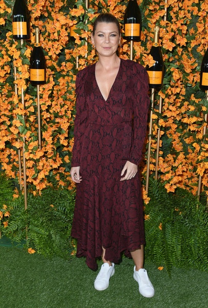 Ellen Pompeo Wrap Dress [clothing,fashion,carpet,dress,flooring,shoe,arrivals,ellen pompeo,los angeles,pacific palisades,california,will rogers state historic park,veuve clicquot polo classic]