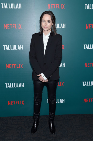 Elliot Page Blazer [suit,premiere,formal wear,footwear,outerwear,tuxedo,carpet,pantsuit,white-collar worker,event,arrivals,footwear,screening,elliot page,red carpet,suit,wear,netflix hosts a special screening of ``tallulah,netflix,premiere,elliot page,the umbrella academy,hollywood,netflix,photograph,celebrity,actor,television,red carpet]