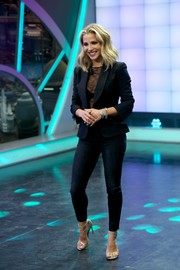 Elsa Pataky made an appearance at the 'El Hormiguero' TV show wearing a black blazer over a sexy lace top.