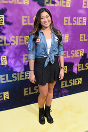 Jenna Ushkowitz completed her youthful outfit with a dotted mini skirt.