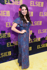 Auli'i Cravalho chose a dotted blue maxi dress for her Elsie Fest look.