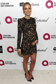 Kristin Cavallari showed off her sexy maternity style with this sheer-illusion lace mini dress during the Elton John AIDS Foundation Oscar viewing party.