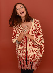 Kaya Scodelario looked exotic in a tribal knit cardigan while having her portrait taken at the 2013 Sundance Film Festival.