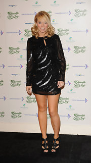 Liz Mcclarnon's black cutout ankle boots added a dose of edginess to her look.