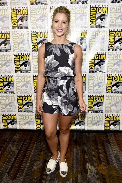 Emily Bett Rickards Leather Slip On Shoes
