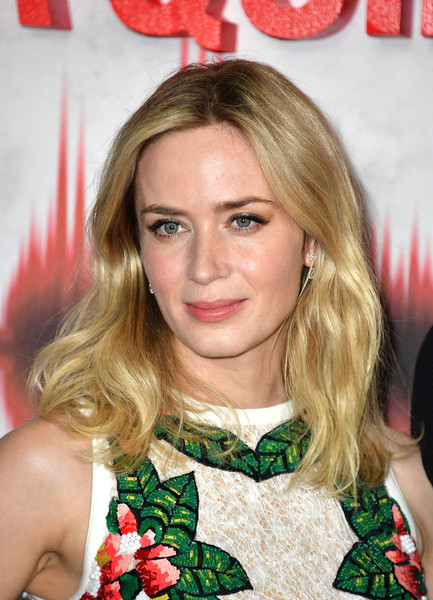 Emily Blunt Medium Wavy Cut [hair,blond,hairstyle,beauty,long hair,brown hair,layered hair,bangs,hair coloring,premiere,emily blunt,a quiet place,london,england,vip fan screening,vip fan screening of a quiet place]