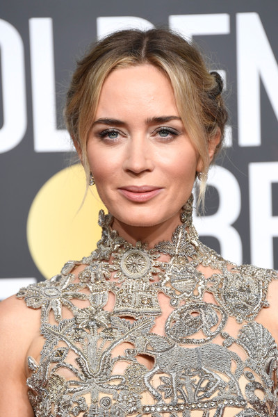 Emily Blunt Chignon [hair,face,hairstyle,blond,eyebrow,lip,chin,beauty,shoulder,eyelash,arrivals,emily blunt,the beverly hilton hotel,beverly hills,california,golden globe awards]