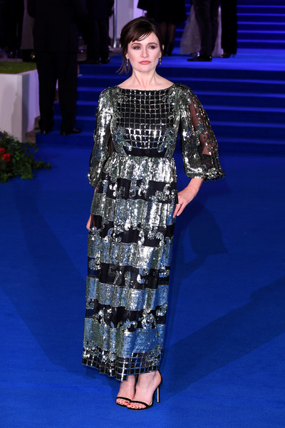 Emily Mortimer Strappy Sandals [mary poppins returns,clothing,fashion model,fashion,red carpet,dress,flooring,carpet,haute couture,fashion show,premiere,red carpet arrivals,emily mortimer,european,england,london,royal albert hall,premiere,european premiere]