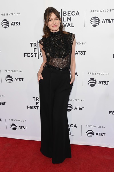 Emily Mortimer Wide Leg Pants [clothing,red carpet,dress,carpet,fashion,hairstyle,premiere,waist,fashion model,flooring,emily mortimer,to dust,new york city,sva theatre,tribeca film festival,screening]