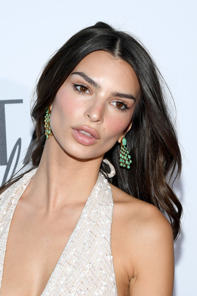 Emily Ratajkowski Gemstone Chandelier Earrings [kerastase party,hair,face,eyebrow,hairstyle,shoulder,beauty,lip,skin,chin,black hair,paris,port debilly,france,emily ratajkowski]