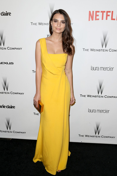 Emily Ratajkowski Box Clutch [yellow,fashion model,dress,flooring,gown,shoulder,cocktail dress,carpet,model,catwalk,emily ratajkowski,beverly hills,california,weinstein company,netflix,party,golden globes,robinsons may,arrivals]
