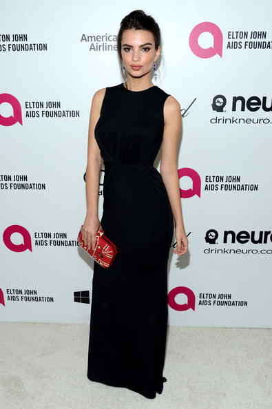 Emily Ratajkowski Evening Dress [dress,clothing,fashion model,cocktail dress,shoulder,little black dress,neck,fashion,carpet,premiere,emily ratajkowski,elton john aids foundation oscar viewing party,part,california,los angeles,elton john aids foundation,oscar viewing party]