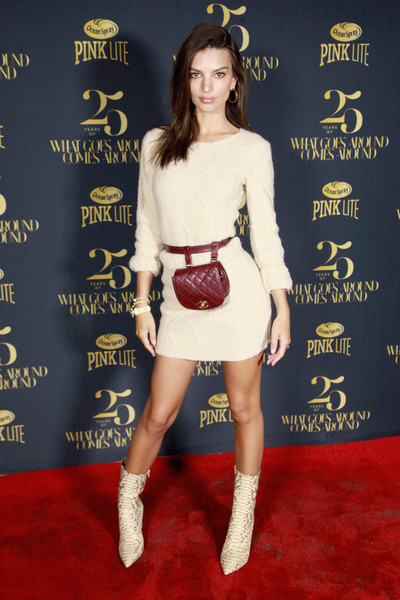 Emily Ratajkowski Quilted Purse [clothing,red carpet,premiere,carpet,footwear,fashion,dress,flooring,fashion model,cocktail dress,emily ratajkowski,gitano,new york city,what goes around comes around 25th anniversary party]
