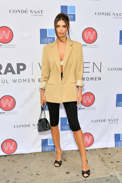 Emily Ratajkowski Strappy Sandals [clothing,red,fashion,outerwear,footwear,dress,blazer,neck,style,shoe,emily ratajkowski,wrapwomen power women breakfast,tribeca grill,new york city]