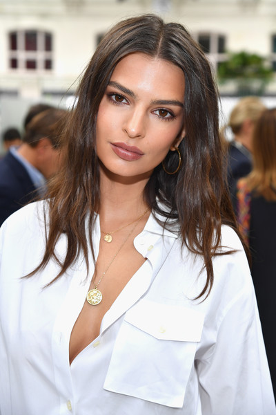 Emily Ratajkowski Gold Hoops [hair,face,eyebrow,hairstyle,beauty,blond,brown hair,lip,skin,long hair,valentino,emily ratajkowski,front row,part,paris,france,paris fashion week womenswear spring,show]