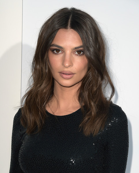 Emily Ratajkowski Long Wavy Cut [stx films,i feel pretty,red carpet,hair,face,hairstyle,eyebrow,lip,shoulder,black hair,beauty,long hair,chin,emily ratajkowski,california,westwood village theatre,westwood,premiere,premiere]