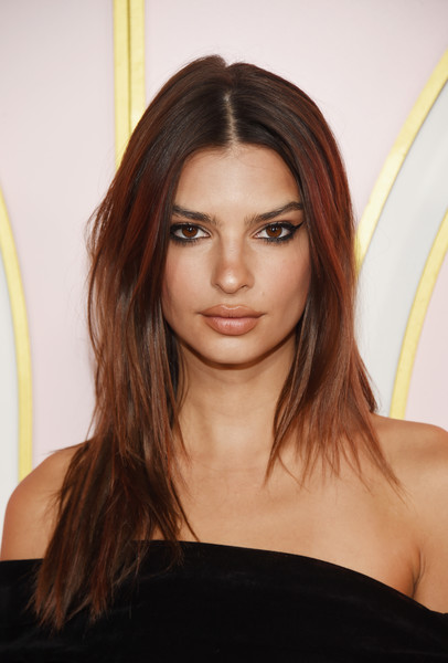 Emily Ratajkowski Cat Eyes [hair,eyebrow,human hair color,beauty,hairstyle,fashion model,layered hair,long hair,chin,brown hair,emily ratajkowski,arrivals,emmy awards,amazon prime video post emmy awards,west hollywood,california,cecconi,prime video post,amazon,party]