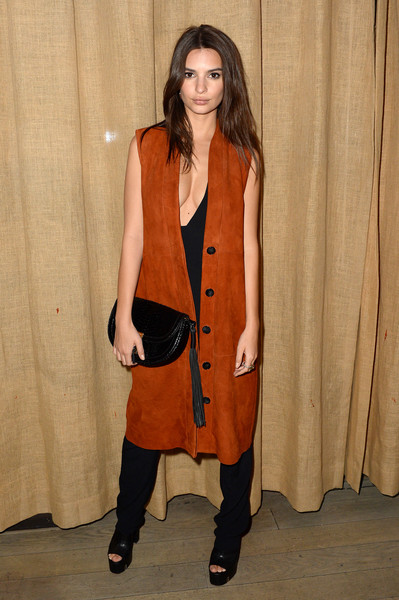 Emily Ratajkowski Vest [clothing,outerwear,fashion,fashion model,duster,coat,footwear,overcoat,beige,fashion design,bryce thompson,baran suzer celebrates fashion week,dom perignon,business partners,fashion,nomo soho hotel,u.s.,studio,suzer groups,showcase]