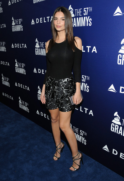 Emily Ratajkowski Dress Shorts [shoulder,flooring,fashion model,little black dress,fashion,joint,leg,muscle,thigh,carpet,charli xcx,emily ratajkowski,grammy,model,performance,west hollywood,delta air lines,airline,celebration,kick-off party]