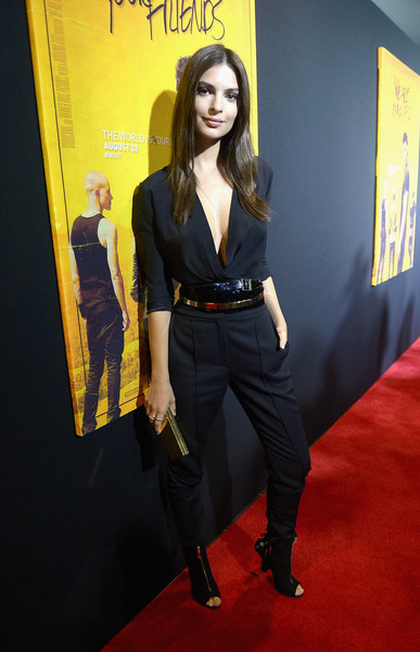 Emily Ratajkowski High-Waisted Pants [we are your friends,carpet,red carpet,clothing,yellow,premiere,flooring,long hair,pantsuit,style,emily ratajkowski,zac effron,celebrities,miami,florida,regal cinemas south beach stadium,screening,screening]
