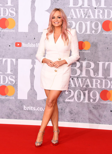Emma Bunton Strappy Sandals [red carpet,clothing,premiere,carpet,fashion,cocktail dress,dress,fashion model,event,flooring,red carpet arrivals,emma bunton,brit awards,london,england,the o2 arena]