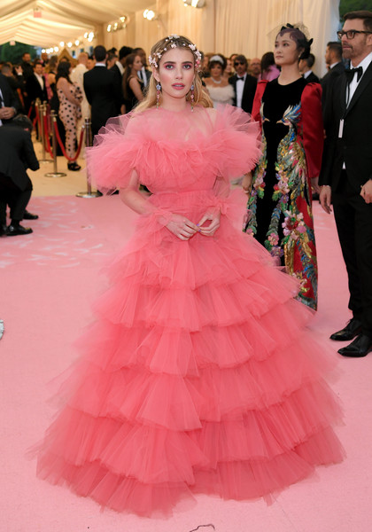 Emma Roberts Princess Gown [pink,dress,clothing,fashion,gown,carpet,red carpet,haute couture,flooring,shoulder,fashion - arrivals,emma roberts,notes,fashion,new york city,metropolitan museum of art,met gala celebrating camp]