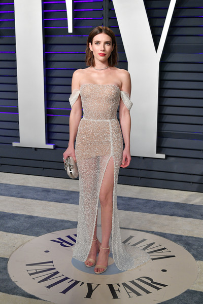 Emma Roberts Sheer Dress [oscar party,vanity fair,fashion model,clothing,dress,shoulder,fashion,haute couture,gown,cocktail dress,joint,neck,beverly hills,california,wallis annenberg center for the performing arts,radhika jones - arrivals,radhika jones,emma roberts]