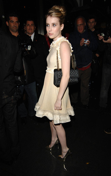 Emma Roberts Classic Bun [clothing,dress,fashion,cocktail dress,leg,hairstyle,event,shoulder,fashion model,joint,emma roberts,california,los angeles,madeo restaurant,chanel,charles finch pre-oscar,party celebrating fashion and film]